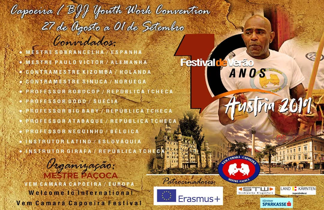 26.08.19 – 01.09.19 International summercamp Klagenfurt, Troca de cordas + 10 years of Vem Camará Capoeira